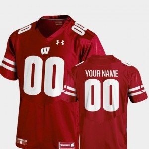 Wisconsin Badgers Custom Jersey #00 College Football Red 2018 Replica Under Armour Youth